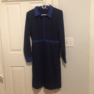 Long Sleeve Navy Blue Button Up  Dress